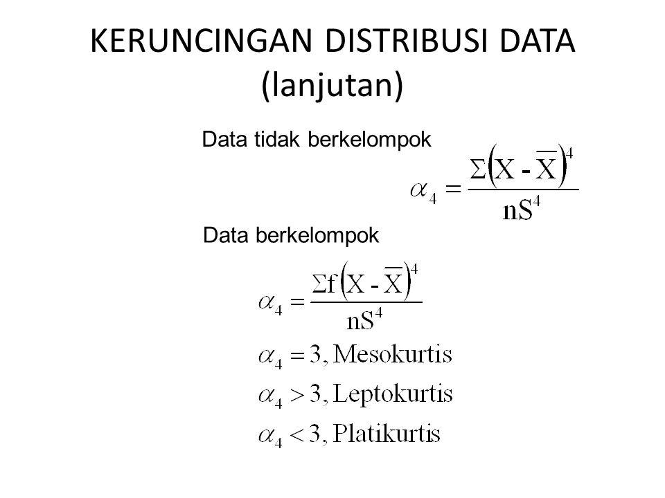 KERUNCINGAN DISTRIBUSI DATA (lanjutan)