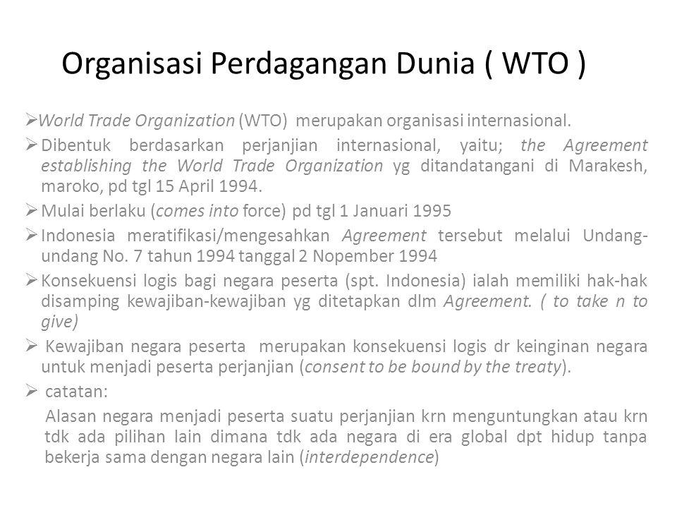 Organisasi Perdagangan Dunia ( WTO )