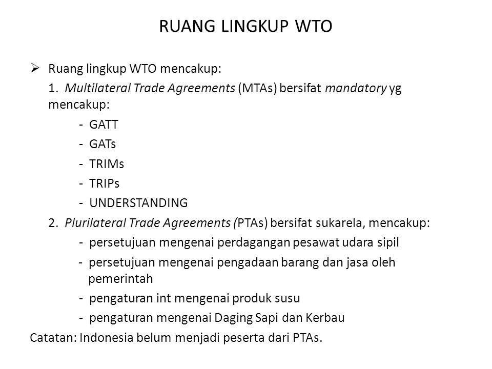 RUANG LINGKUP WTO Ruang lingkup WTO mencakup: