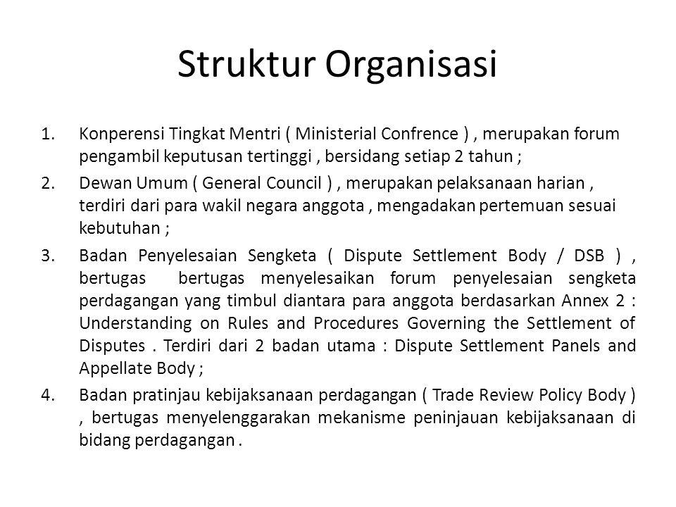 Struktur Organisasi Konperensi Tingkat Mentri ( Ministerial Confrence ) , merupakan forum pengambil keputusan tertinggi , bersidang setiap 2 tahun ;