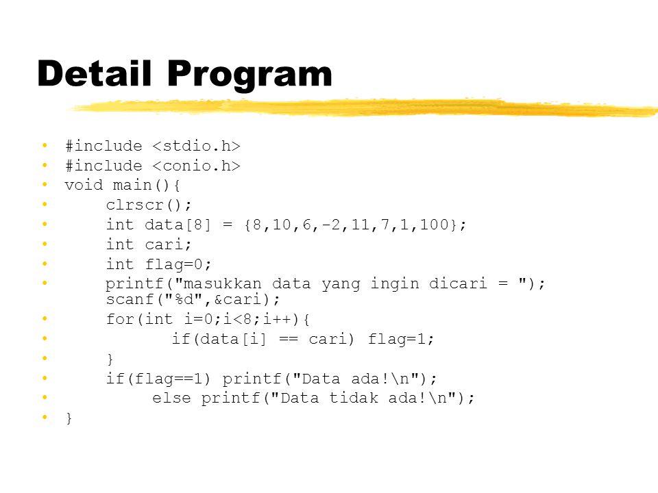 Detail Program #include <stdio.h> #include <conio.h>