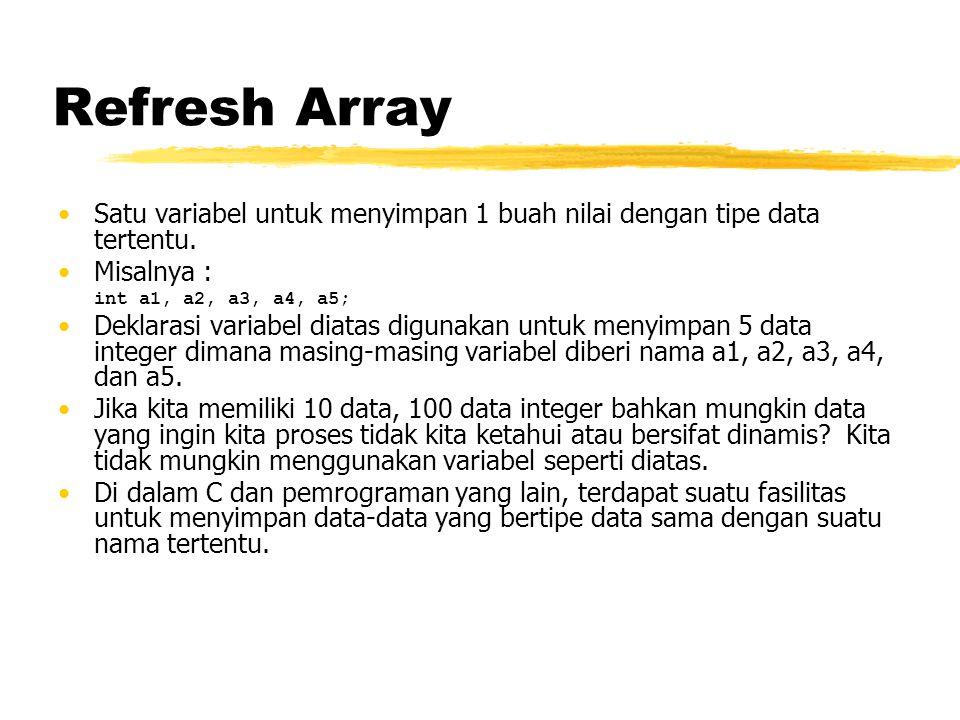 Refresh Array Satu variabel untuk menyimpan 1 buah nilai dengan tipe data tertentu. Misalnya : int a1, a2, a3, a4, a5;