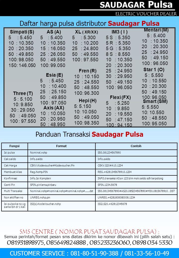 SAUDAGAR Pulsa Daftar harga pulsa distributor Saudagar Pulsa