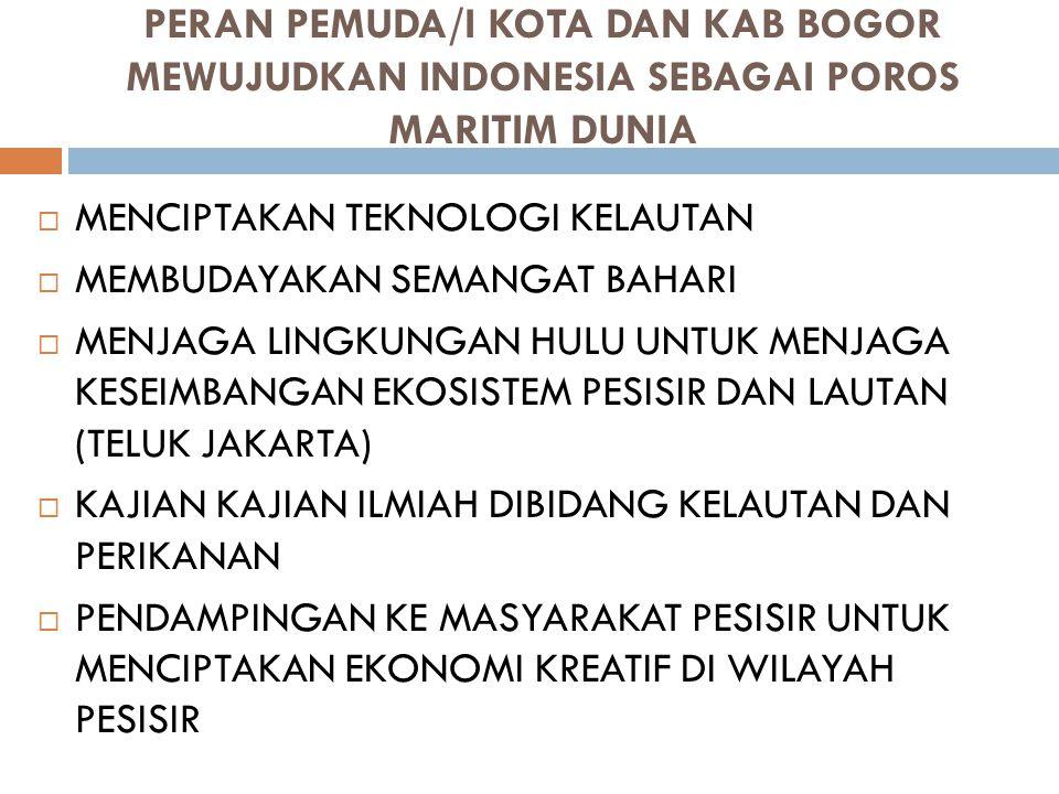 PERAN PEMUDA/I KOTA DAN KAB BOGOR MEWUJUDKAN INDONESIA SEBAGAI POROS MARITIM DUNIA