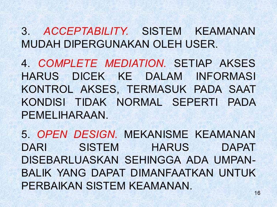 3. ACCEPTABILITY. SISTEM KEAMANAN MUDAH DIPERGUNAKAN OLEH USER.