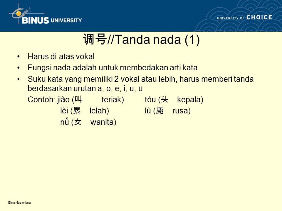 调号//Tanda nada (1) Harus di atas vokal