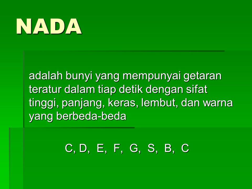 NADA adalah bunyi yang mempunyai getaran teratur dalam tiap detik dengan sifat tinggi, panjang, keras, lembut, dan warna yang berbeda-beda.