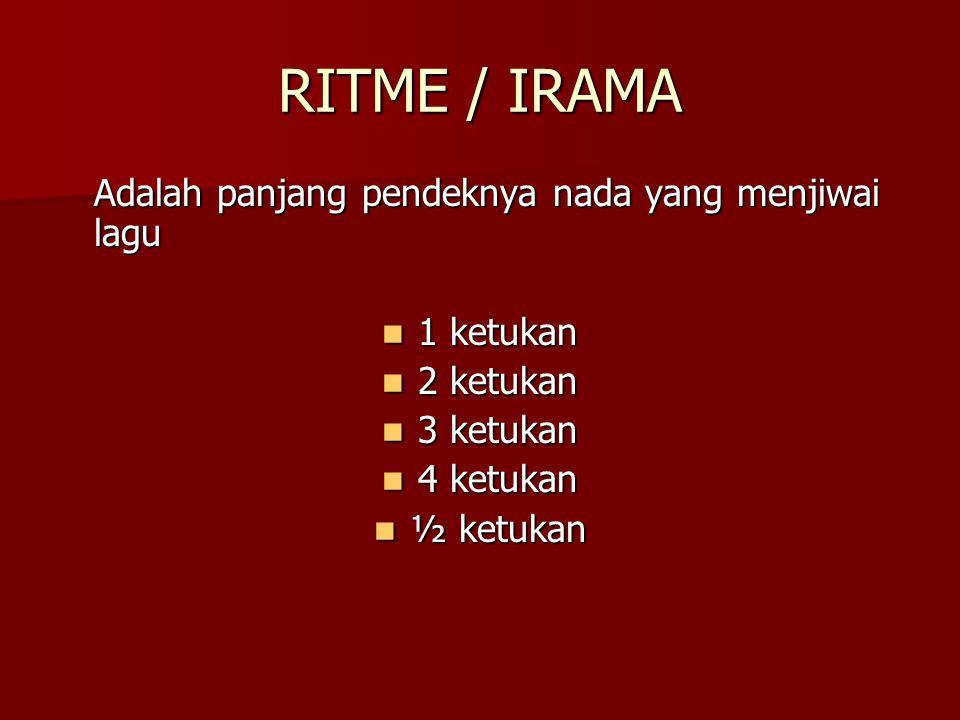 RITME / IRAMA Adalah panjang pendeknya nada yang menjiwai lagu