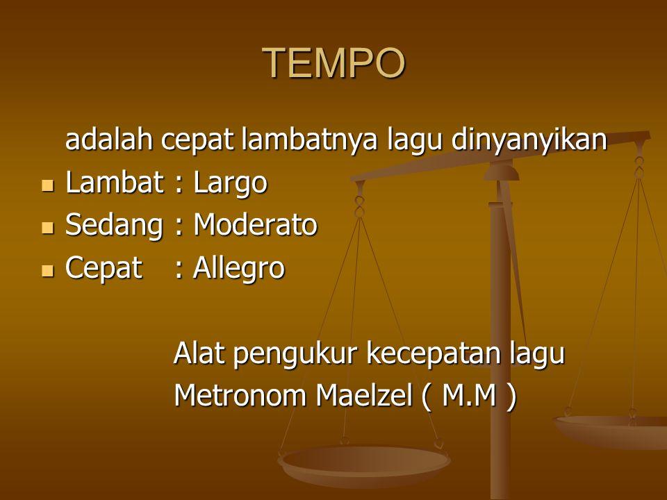 TEMPO adalah cepat lambatnya lagu dinyanyikan Lambat : Largo