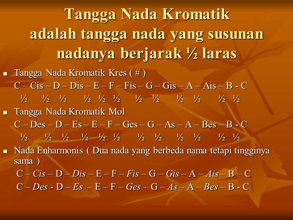 Tangga Nada Kromatik adalah tangga nada yang susunan nadanya berjarak ½ laras