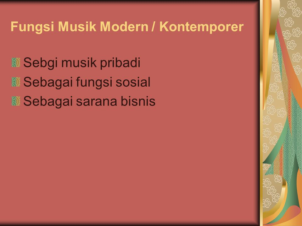 Fungsi Musik Modern / Kontemporer