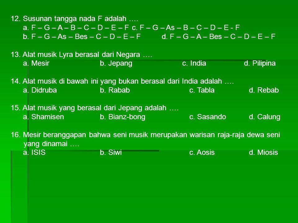 12. Susunan tangga nada F adalah ….
