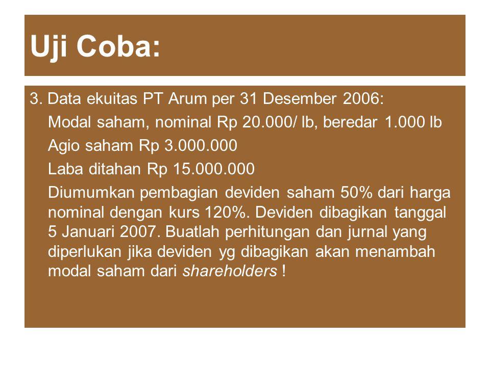 Uji Coba: 3. Data ekuitas PT Arum per 31 Desember 2006: