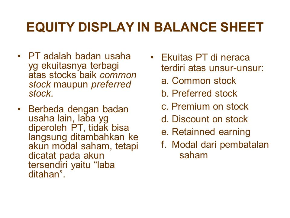 EQUITY DISPLAY IN BALANCE SHEET