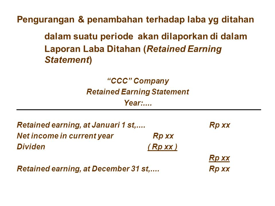 Retained Earning Statement