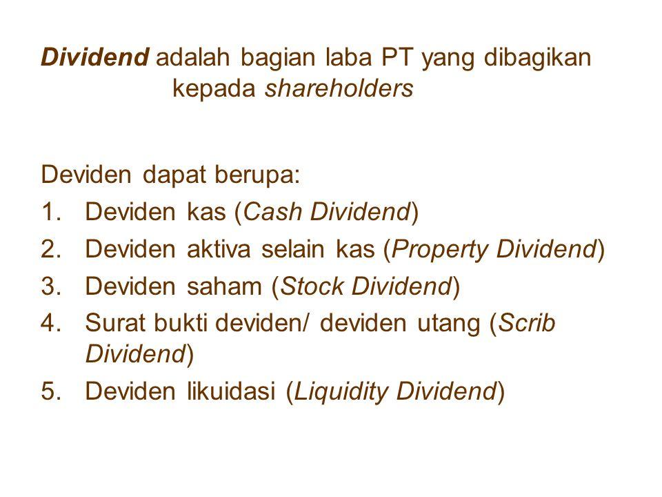 Dividend adalah bagian laba PT yang dibagikan kepada shareholders