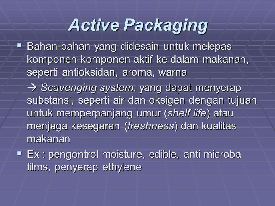 Active Packaging Bahan-bahan yang didesain untuk melepas komponen-komponen aktif ke dalam makanan, seperti antioksidan, aroma, warna.