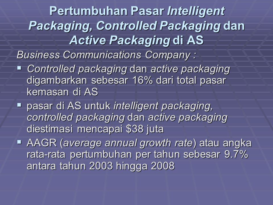 Pertumbuhan Pasar Intelligent Packaging, Controlled Packaging dan Active Packaging di AS