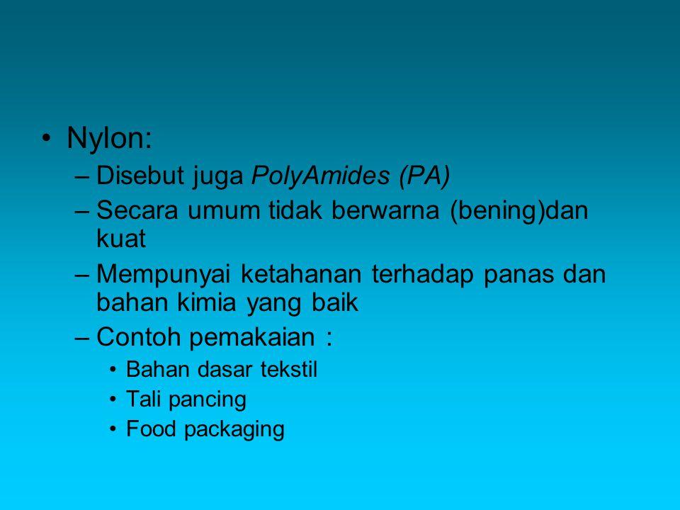 Nylon: Disebut juga PolyAmides (PA)