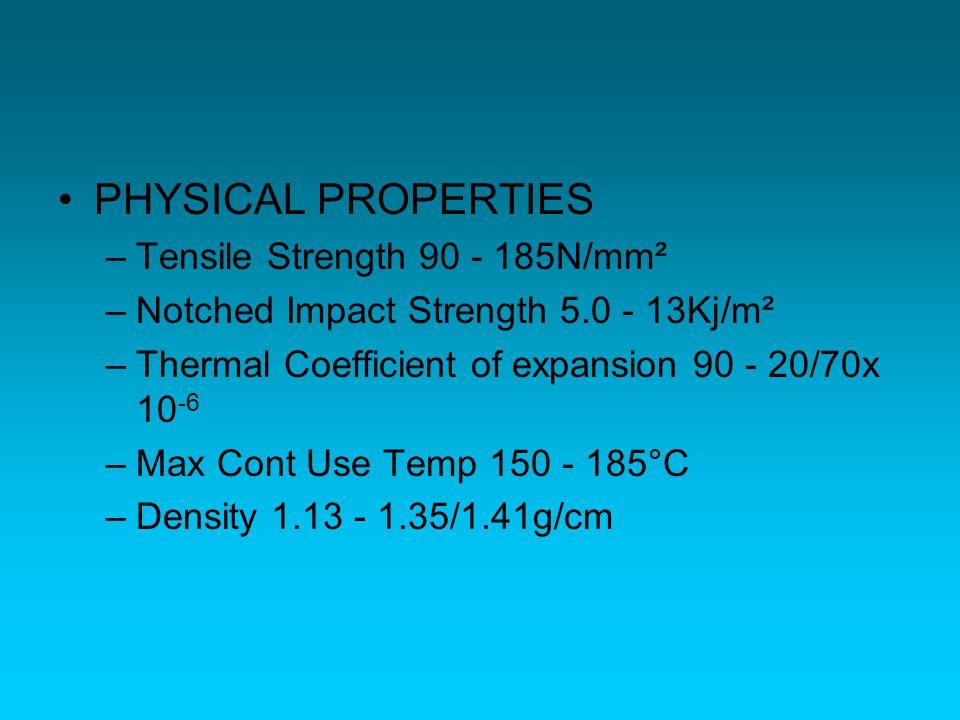 PHYSICAL PROPERTIES Tensile Strength 90 - 185N/mm²