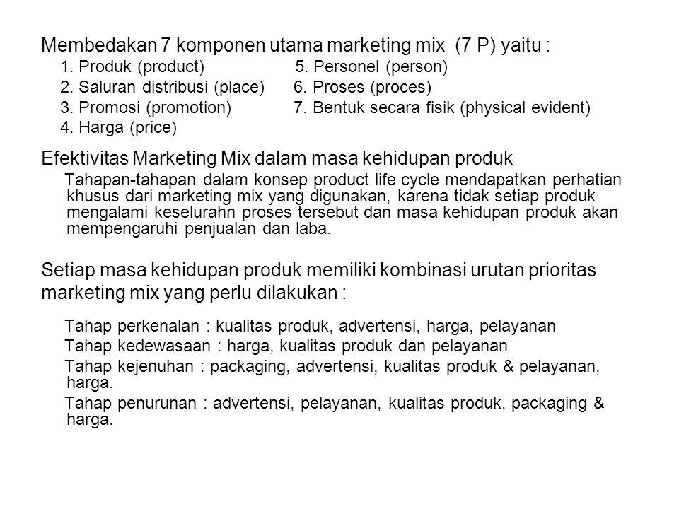 Membedakan 7 komponen utama marketing mix (7 P) yaitu :