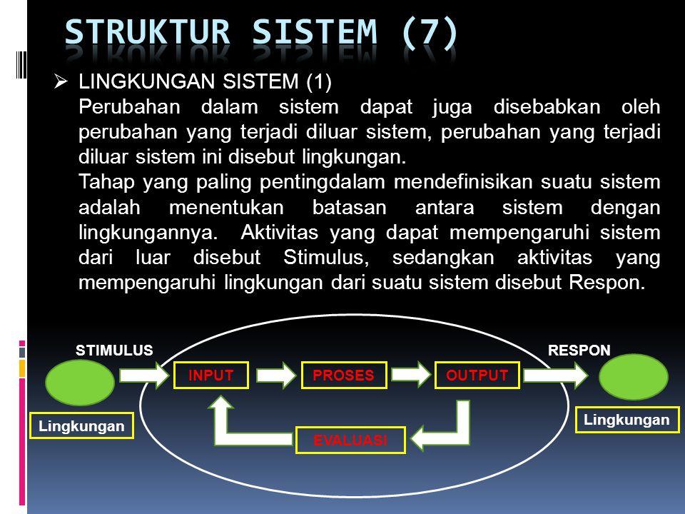 STRUKTUR SISTEM (7) LINGKUNGAN SISTEM (1)