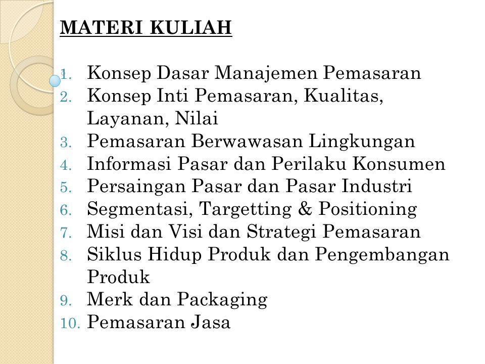 MATERI KULIAH Konsep Dasar Manajemen Pemasaran. Konsep Inti Pemasaran, Kualitas, Layanan, Nilai. Pemasaran Berwawasan Lingkungan.