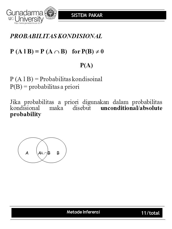 PROBABILITAS KONDISIONAL P (A l B) = P (A  B) for P(B)  0 P(A)