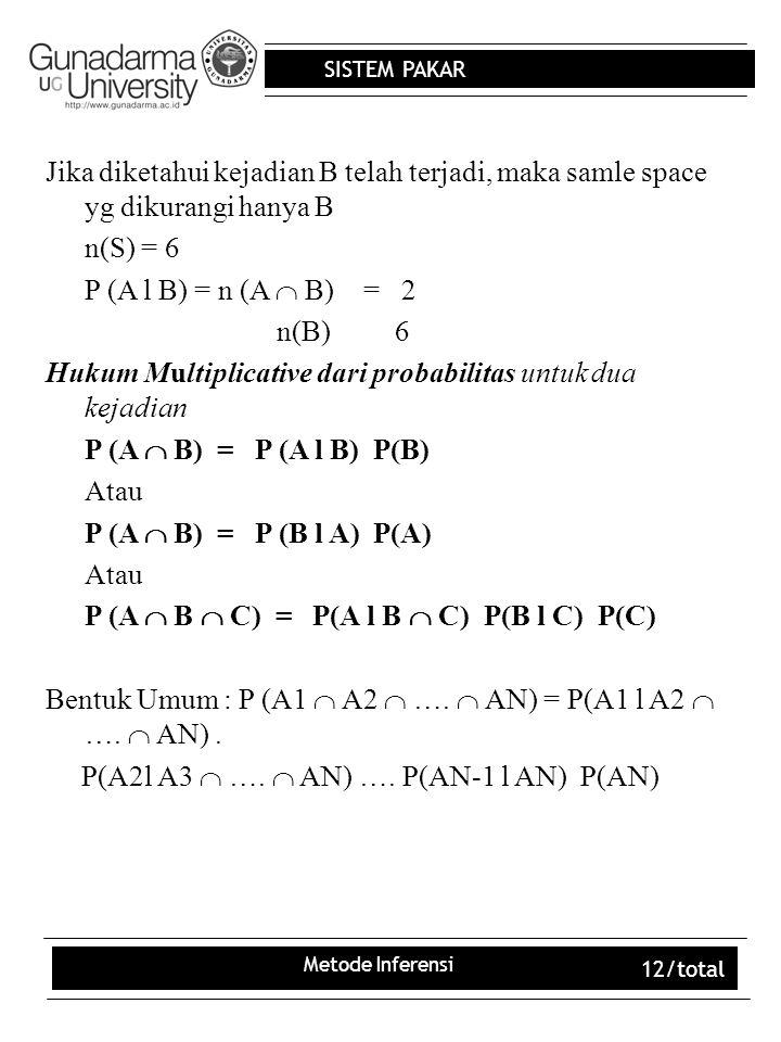 Hukum Multiplicative dari probabilitas untuk dua kejadian