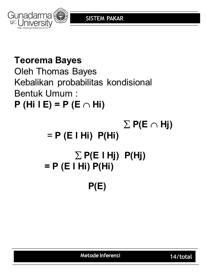 Kebalikan probabilitas kondisional Bentuk Umum :