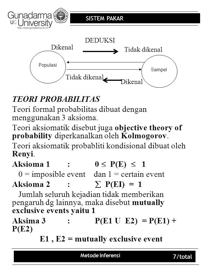 Teori formal probabilitas dibuat dengan menggunakan 3 aksioma.