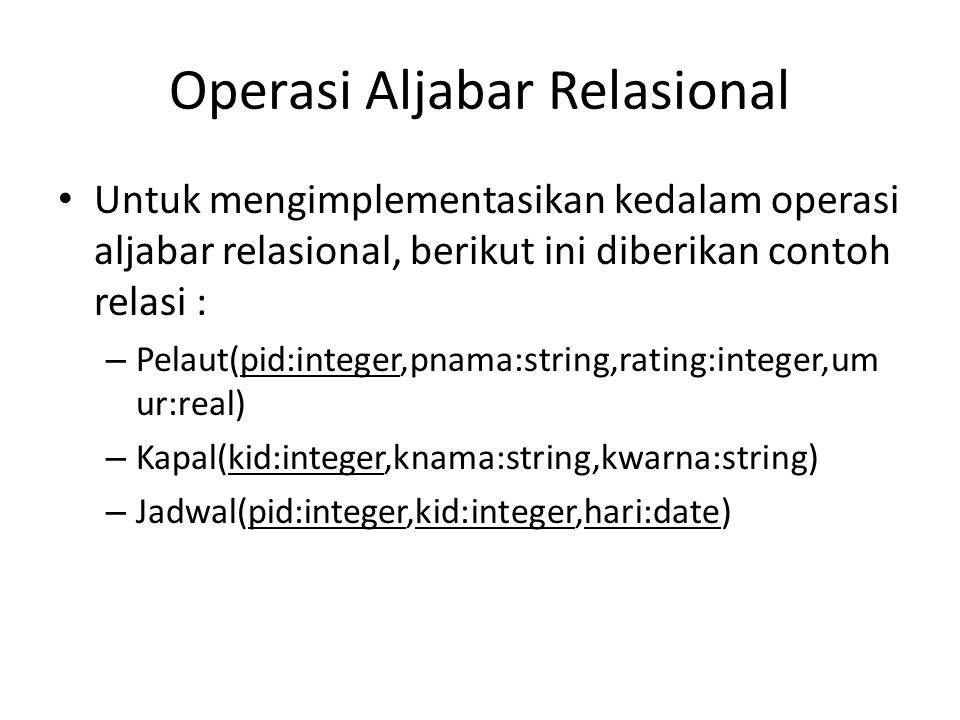 Operasi Aljabar Relasional