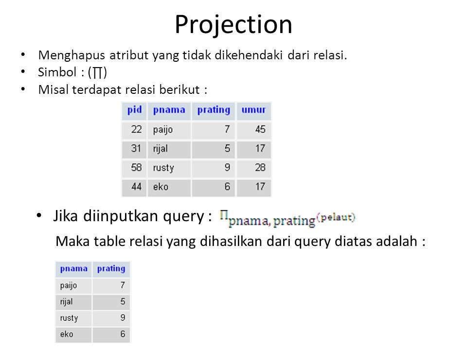 Projection Jika diinputkan query :