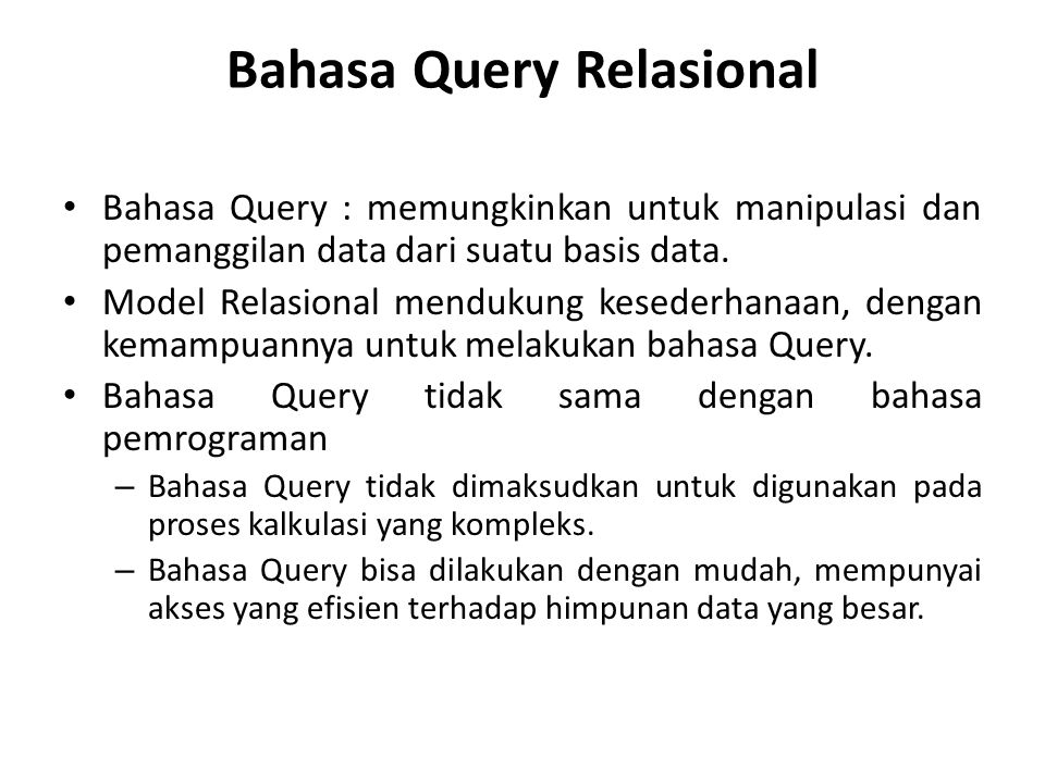 Bahasa Query Relasional