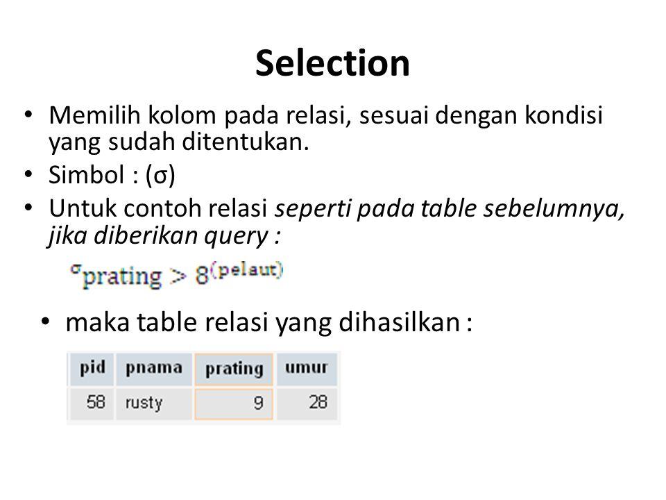 Selection maka table relasi yang dihasilkan :