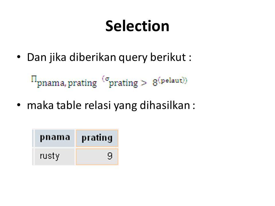 Selection Dan jika diberikan query berikut :