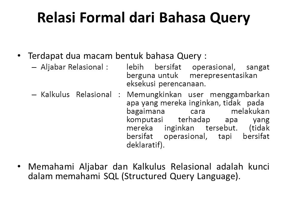 Relasi Formal dari Bahasa Query