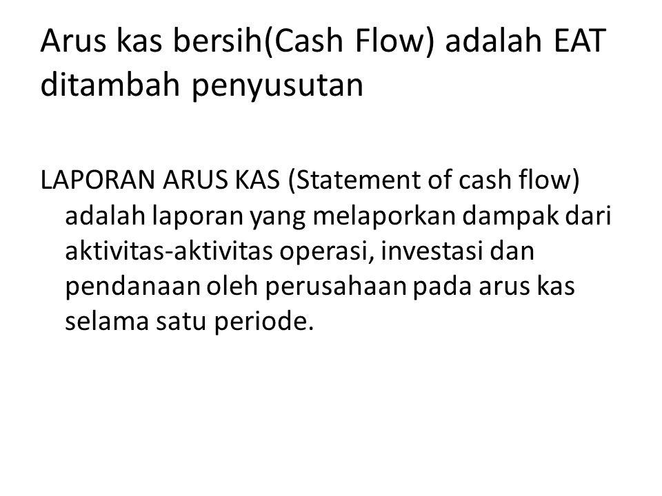 Arus kas bersih(Cash Flow) adalah EAT ditambah penyusutan