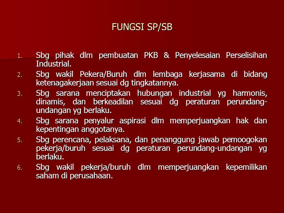 FUNGSI SP/SB Sbg pihak dlm pembuatan PKB & Penyelesaian Perselisihan Industrial.