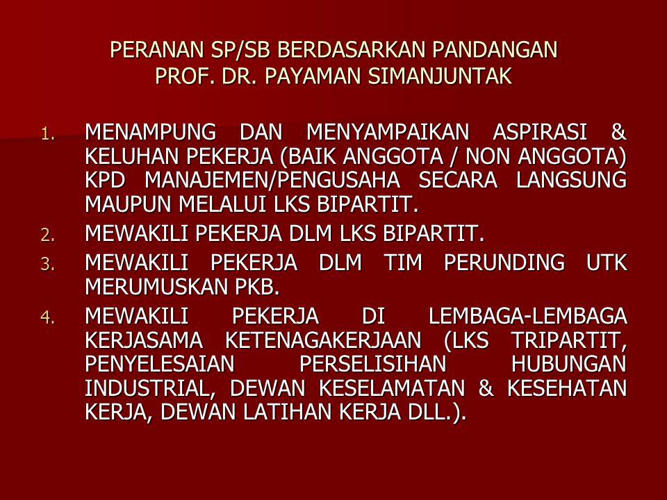 PERANAN SP/SB BERDASARKAN PANDANGAN PROF. DR. PAYAMAN SIMANJUNTAK