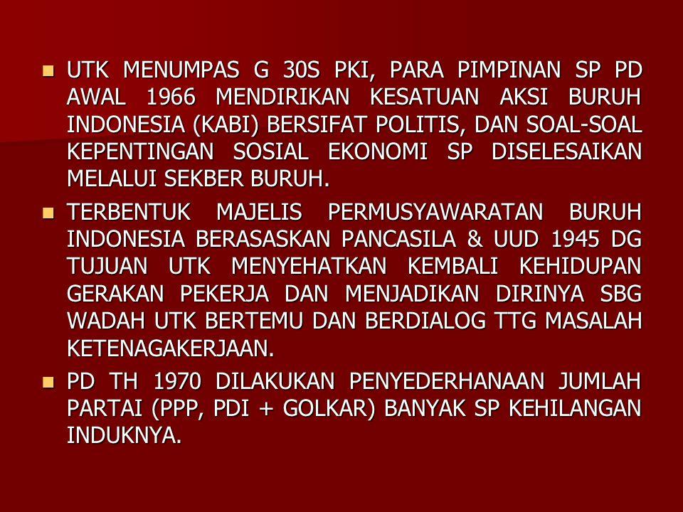 UTK MENUMPAS G 30S PKI, PARA PIMPINAN SP PD AWAL 1966 MENDIRIKAN KESATUAN AKSI BURUH INDONESIA (KABI) BERSIFAT POLITIS, DAN SOAL-SOAL KEPENTINGAN SOSIAL EKONOMI SP DISELESAIKAN MELALUI SEKBER BURUH.