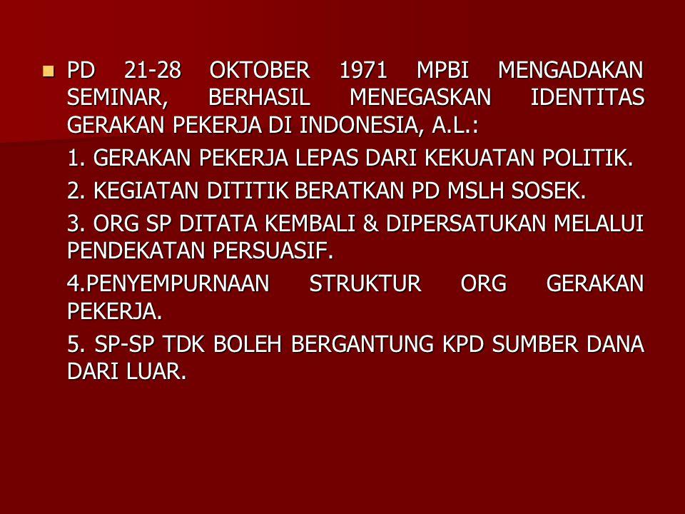 PD 21-28 OKTOBER 1971 MPBI MENGADAKAN SEMINAR, BERHASIL MENEGASKAN IDENTITAS GERAKAN PEKERJA DI INDONESIA, A.L.: