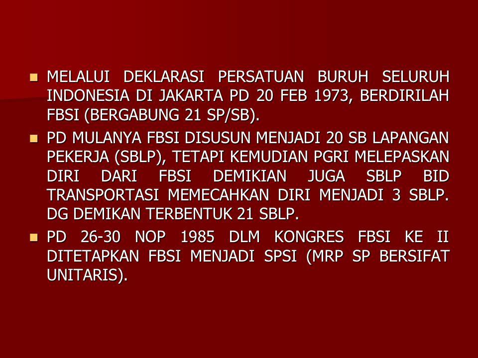 MELALUI DEKLARASI PERSATUAN BURUH SELURUH INDONESIA DI JAKARTA PD 20 FEB 1973, BERDIRILAH FBSI (BERGABUNG 21 SP/SB).