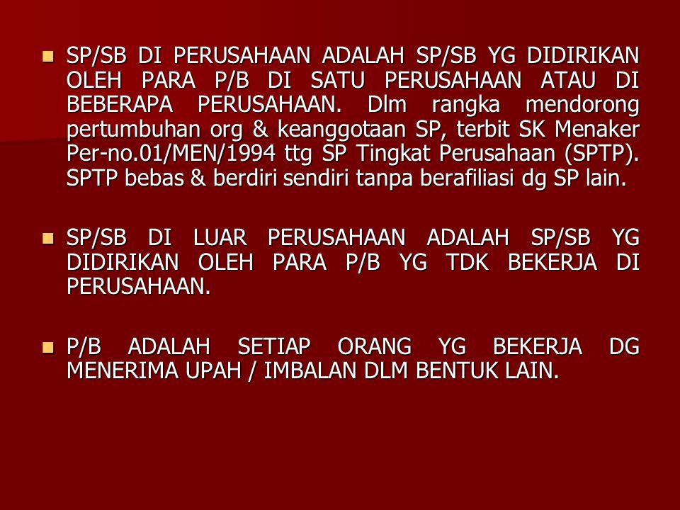 SP/SB DI PERUSAHAAN ADALAH SP/SB YG DIDIRIKAN OLEH PARA P/B DI SATU PERUSAHAAN ATAU DI BEBERAPA PERUSAHAAN. Dlm rangka mendorong pertumbuhan org & keanggotaan SP, terbit SK Menaker Per-no.01/MEN/1994 ttg SP Tingkat Perusahaan (SPTP). SPTP bebas & berdiri sendiri tanpa berafiliasi dg SP lain.