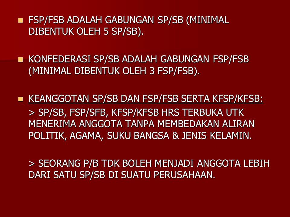 FSP/FSB ADALAH GABUNGAN SP/SB (MINIMAL DIBENTUK OLEH 5 SP/SB).