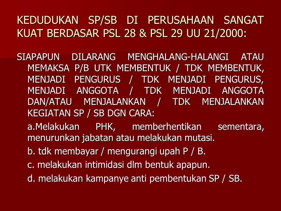 KEDUDUKAN SP/SB DI PERUSAHAAN SANGAT KUAT BERDASAR PSL 28 & PSL 29 UU 21/2000: