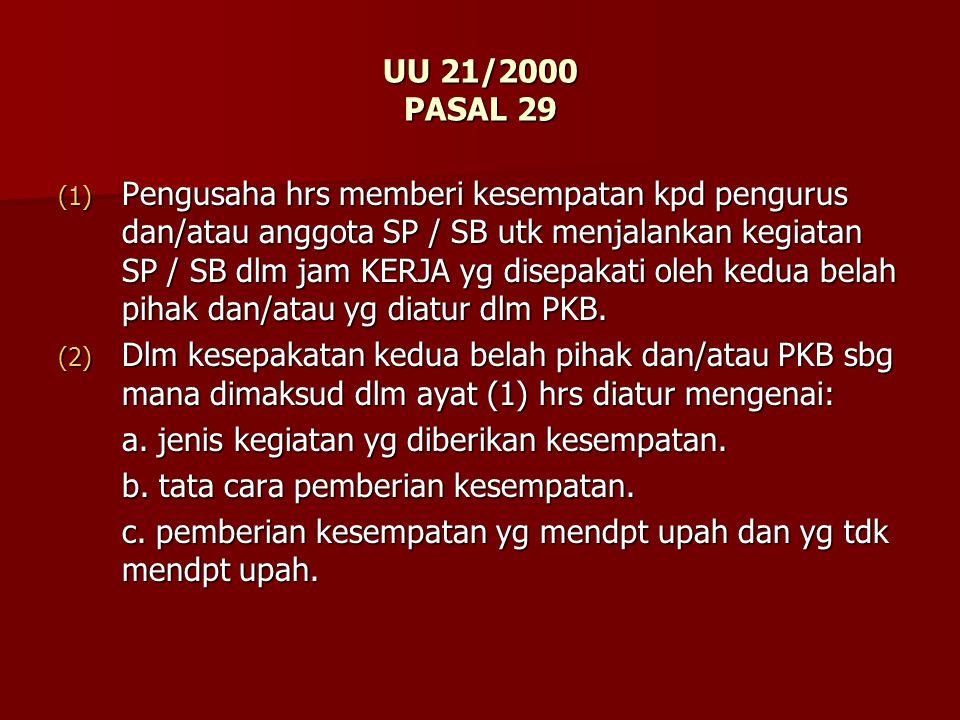 UU 21/2000 PASAL 29