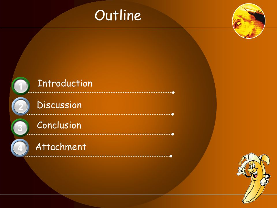Outline Introduction 3 1 Discussion 2 Conclusion 3 Attachment 4