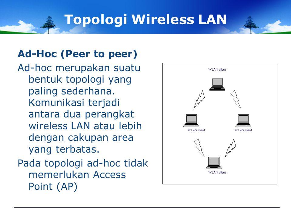 Topologi Wireless LAN Ad-Hoc (Peer to peer)