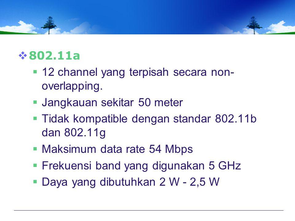 802.11a 12 channel yang terpisah secara non-overlapping. Jangkauan sekitar 50 meter. Tidak kompatible dengan standar 802.11b dan 802.11g.